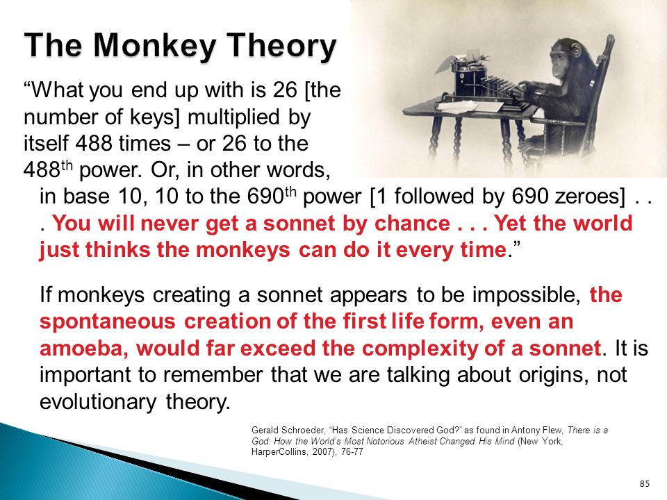 The Monkey Theory What you end up with is 26 [the number of keys] multiplied by. itself 488 times – or 26 to the.